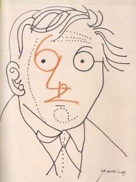 Queneau dibujado por Mario Prassinos