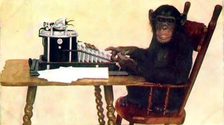http://commons.wikimedia.org/wiki/File:Monkey-typing.jpg