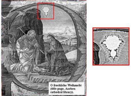 """""""O froehliche Weihnacht"""", imagen en un manuscrito atribuido a Udo de Aachen y encontrado en la catedral de Aachen."""