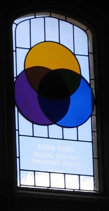 Diagrama de Venn en un ventanal del Colegio de Gonville y Caius (Cambridge, UK). El texto en la ventana dice JOHN VENN; FELLOW 1857–1923; PRESIDENT 1903–1923.http://commons.wikimedia.org/wiki/File:Venn-stainedglass-gonville-caius.jpg