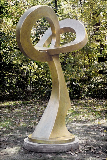 "John Adduci, ""Circles"", 1995 Bronze, 9 × 4 × 3 ft http://www.johnadduci.com/index.html#projects"