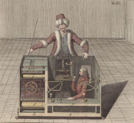 """Ilustración de Joseph Racknitz, el secreto onterior de """"El turco"""""""