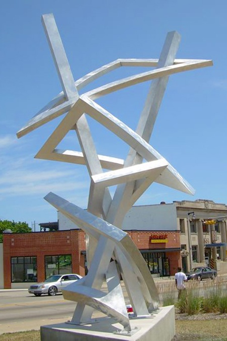 "John Adduci, ""Uptown Triangles"", 2009 Aluminum, 20 × 12 × 10 ft http://www.johnadduci.com/index.html#projects"