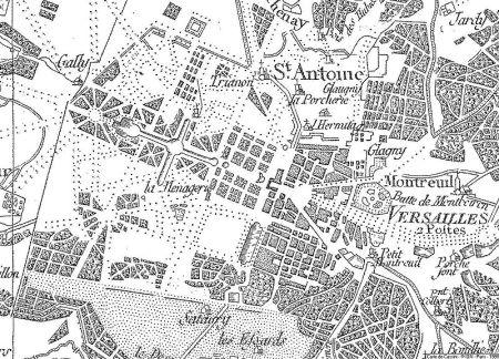 Parque del castillo de Versailles en el mapa de Cassini