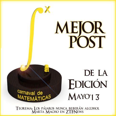 Premio a la Mejor Entrada de la Edición 4.1231 del Carnaval de Matemáticas.