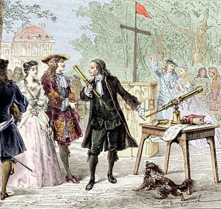 Guillaume Amontons muestra el semáforo en los Jardines de Luxemburgo,1690. Ilustración de 1870. (Hulton Archive/Getty Images)