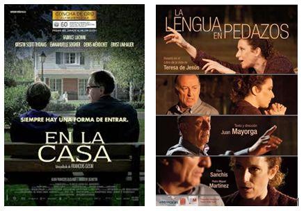 """Carteles de """"Dans la maison"""" (adaptación al cine de """"El chico de la última fila"""") y """"La lengua en pedazo"""""""