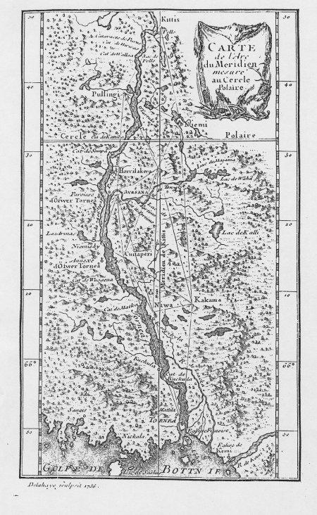 """Mapa mostrando lo lugares donde realizó las medidas Maupertuis en su expedición a Laponia, en """"La Figure de la Terre"""" (1738) http://commons.wikimedia.org/wiki/File:Maupertuis_map.jpg"""