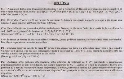 Física en selectividade: Galicia setembro de 2013