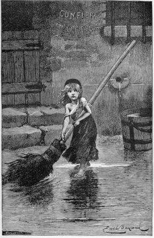 Cosette, personaje de Los miserables. Ilustración de Émile Bayard.