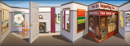 "Patrick Hughes, ""Tea Shop"", 2013 http://www.patrickhughes.co.uk/"