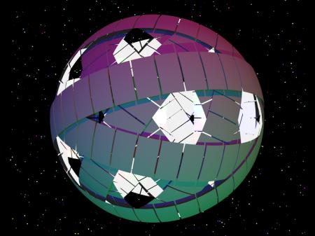 Los anillos de Dyson, formando la esfera de Dyson http://en.wikipedia.org/wiki/File:Dyson_rings.PNG