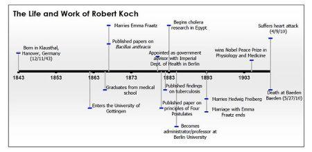 Cronología de la vida y las contribuciones de Robert Koch http://en.wikipedia.org/wiki/File:Wikipedia_Visualization.JPG
