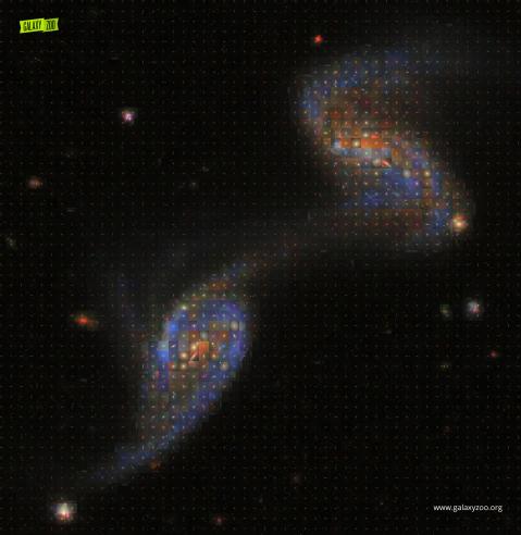 Mosaico de galaxias creado por  Kyle Willett de Galaxy Zoo