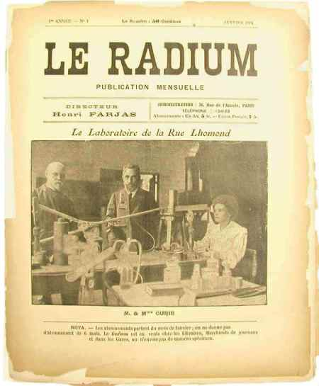 Portada de la revista 'Le Radium' fundada en 1904 http://www.gutenberg-e.org/rentetzi/detail/04-2.html