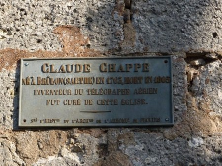 Claude Chappe fue cura en la parroquia de Chalautre-la-Petite http://randowill.over-blog.com/article-balade-a-chalautre-la-petite-88624439.html