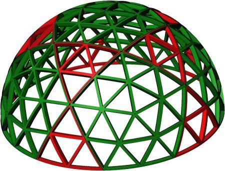 Semiesfera geodésica generada de un icosaedro