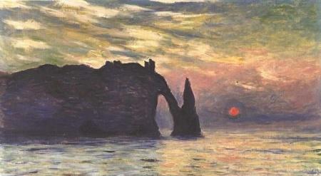 "Claude Monet, ""El acantilado de Étretat. Puesta de sol"", 1883"
