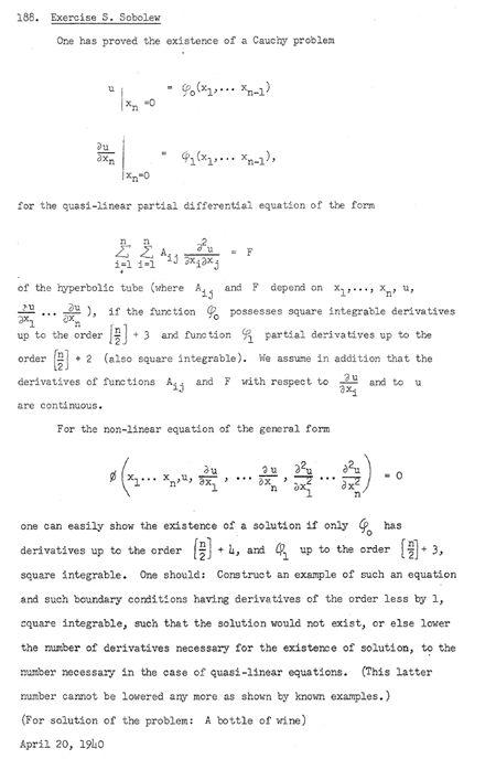 "Problema 188 extraído de la transcripción a inglés de ""The Scottish Book""  http://kielich.amu.edu.pl/Stefan_Banach/pdf/ks-szkocka/ks-szkocka3ang.pdf"