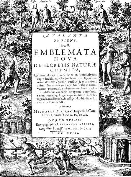 """Portada de """"Atalanta Fugiens"""" de Michael Maier, 1617"""