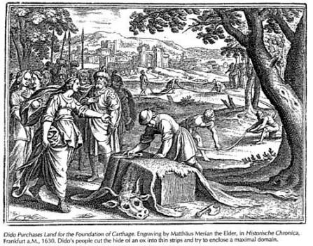 Didon acota su tierra para la fundación de Cartago, Mathias Merian el viejo, Historische Chronica Frankfurt, 1630