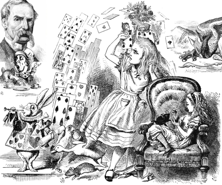Montaje de Alicia (con John Tenniel a la izquierda) http://tallerymedio.com/tag/sir-john-tenniel/