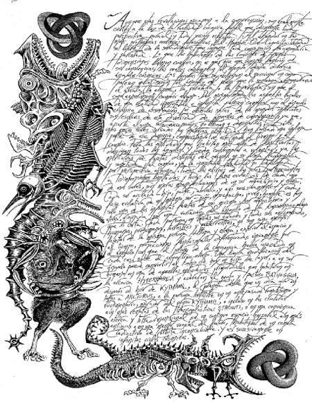 """Un extracto de """"A través de las puertas de la llave de plata"""" de H.P. Lovecraft, ilustrado por Luïsot http://es.scribd.com/doc/140499073/Lovecraft-El-Necronomicon-ilustrado-por-Lluisot"""