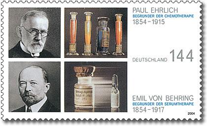 Sello (2004) en conmemoración del 150 cumpleaños de Paul Ehrlich y Emil von Behring