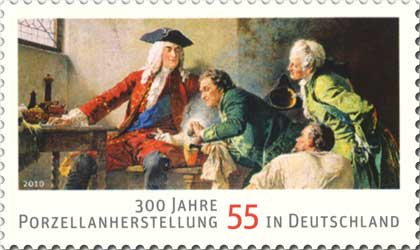 Sello de Deutsche Post AG (2010) conmemorando el 300 aniversario de la manufactura de porcelana en Alemania