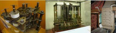 1. Parte de la máquina diferencial, montada por el hijo de Babbage con piezas encontradas en el laboratorio de su padre después de su muerte. 2. La máquina analítica de Babbage, como se puede apreciar en el Science Museum de Londres. 3. Tarjetas perforadas en un telar de Jacquard.