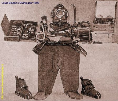 Equipo de buceo, 1892 http://www.therebreathersite.nl/Zuurstofrebreathers/French/photos_louis_boutan.htm
