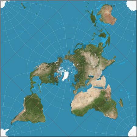 Proyección quincuncial de Peirce de la Tierra