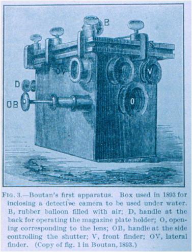 Primera cámara usada por Louis Boutan http://visayas.ch/tauchen/unterwasserfotografie/chronologie-der-unterwasserfotografie/53054296c30ec4c1e/d002.html