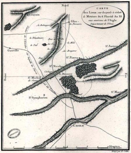 Mapa del lugar en el que cayó el meteorito, extraído del informe de Biot http://www.bibnum.education.fr/sites/default/files/biot_relation_d_un_voyage.pdf