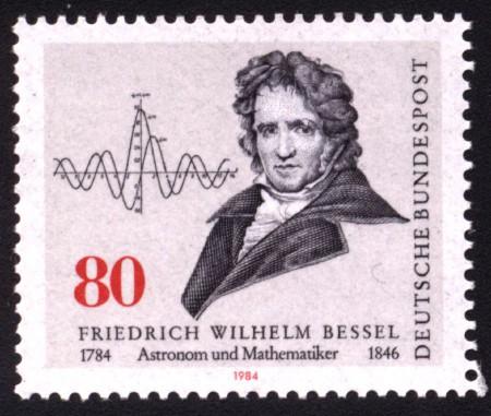 Sello conmemorativo en el bicentenario de su nacimiento, con las funciones de Bessel representadas
