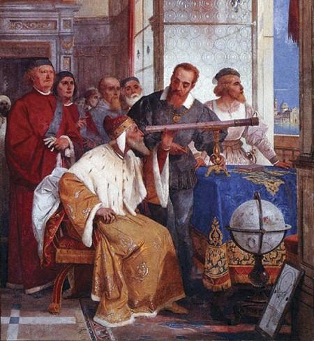 Giuseppe Bertini (1825–1898): Galileo Galilei mostrando al Duque de Venecia cómo utilizar el telescopio