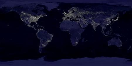 Simulación del brillo nocturno en la Tierra durante el Antropoceno