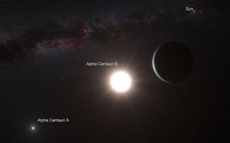 Esta impresión artística muestra al planeta orbitando a la estrella Alfa Centauri B, uno de los miembros del triple sistema estelar más cercano a la Tierra. Alfa Centauri B es el objeto más brillante en el cielo y el otro objeto que resplandece es Alfa Centauri A. La diminuta señal del planeta se encontró con el espectrógrafo HARPS, instalado en el telescopio de 3,6 metros, en el Observatorio La Silla de ESO, en Chile.