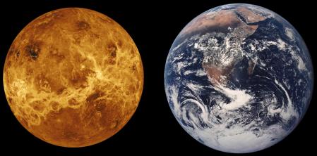Comparación de Venus con la Tierra