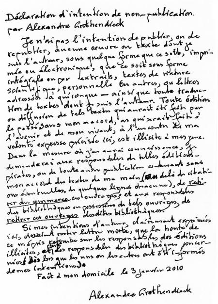 Carta en la que renuncia a toda utilización comercial de sus obras