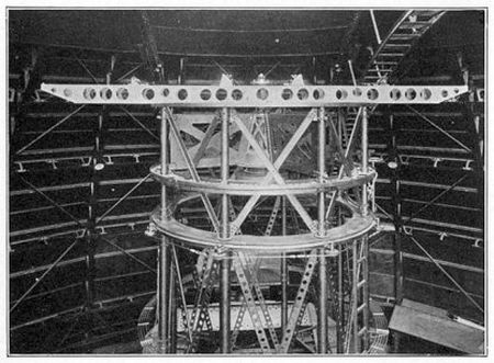A 20-foot (~6 meters) Michelson interferometer mounted on the frame of the 100-inch (~250 cm) Hooker Telescope, 1920.