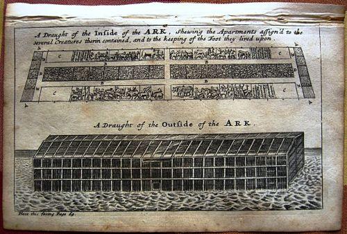 Grabado de principios del S XVIII reflejando el Arca de Noé y la distrbución de los animales que en ella viajaron.