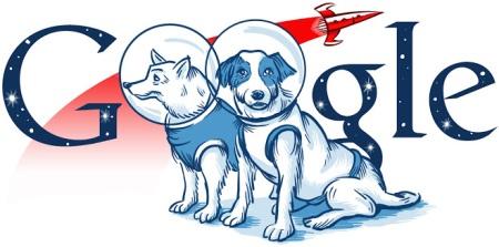 Aniversario del vuelo espacial de Belka y Strelka (doodle de 2010)