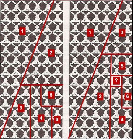 La plantilla de conejos sobre la que se han trazado las líneas rojas se ha tomado de Paradoxicon de N. Falleta