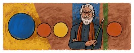 Doodle 100 aniversario del nacimiento de M.F. Husain (2015)