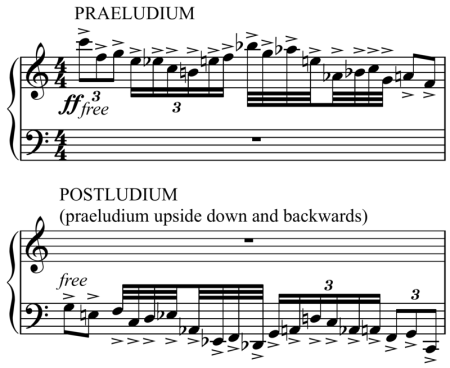 Opening and second to last measures of the piece. From the first and final movements, respectively.