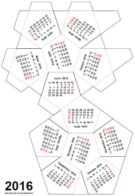 Calendario para montar(dodecaedro regular), © Ole Arntzen