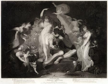 A Midsummer Nights Dream acto IV, Escena I. Titania, con hadas atendiéndola. Pintura de Henry Fuseli, publicada en 1796.