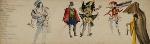 Salvador Dalí, Cinco bocetos de vestuario para Don Juan Tenorio, 1950