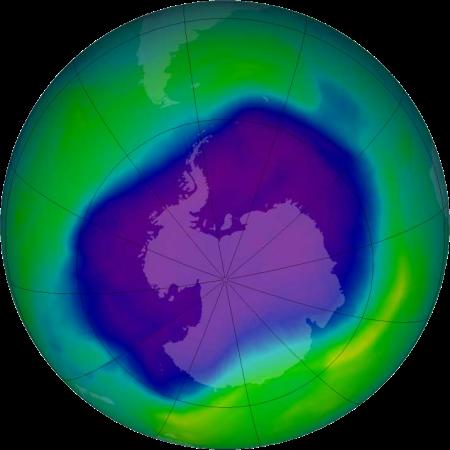El mayor agujero de ozono antártico registrado en septiembre de 2010.